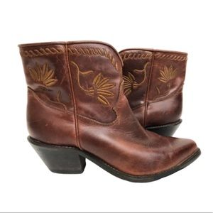 Vtg Leather Embroidered Brown Mexican Booties Sz 6